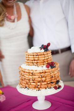 Waffle Cake for Brunch Wedding  |  becca rillo photography