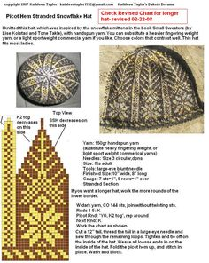 Kathleen Taylor's Dakota Dreams: REVISION Freebie Friday- Picot Hem Snowflake Hat