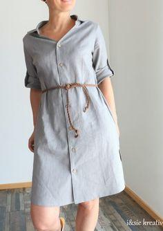 #nähen  Ein Blusenkleid aus Leinen Shirt Dress, Shirts, Dresses, Fashion, Braided Leather, Shirt Collars, Linen Fabric, Sewing Patterns, Long Sleeve
