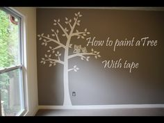 How to paint tree on wall 4 baby room. Easy - tape & paper only! - YouTube
