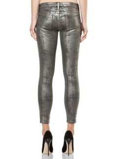Old effect printed Gray-2 color hot stamping foil jeans