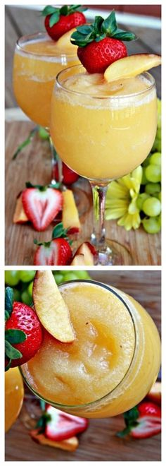 Peach Moscato Wine Slushies ~ You will be seduced by frosty peach Moscato wine slushies. It has a heavenly taste I would say. And they look gorgeous! Looks yummy Refreshing Drinks, Fun Drinks, Yummy Drinks, Yummy Food, Mixed Drinks, Alcoholic Beverages, Slushy Alcohol Drinks, Party Drinks, Peach Moscato