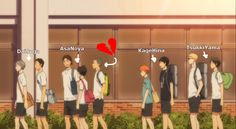 Daisuga, Asanoya, Kagehina, Tsukkiyama. Poor Tanaka he's the 9th wheel. The only straight one