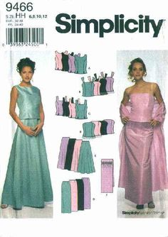 Simplicity Sewing Pattern 9466 Misses Size 14-20 Formal Prom Evening Tops Long Skirts Wrap Simplicity+Sewing+Pattern+9466+Misses+Size+14-20+Formal+Prom+Evening+Tops+Long+Skirts++Wrap