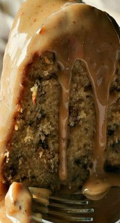 Toffee Pecan Bundt Cake with Caramel Drizzle