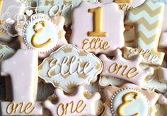 Pink Gold Chevron First Birthday Cookies by DolceCustomCookies