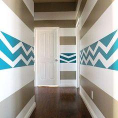Really cool hallway paint design Striped Hallway, Striped Walls, Chevron Walls, Bright Hallway, Blue Hallway, Blue Chevron, Painting Stripes On Walls, Paint Stripes, Painting Walls
