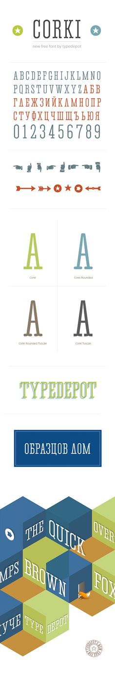 """Corki is condensed slab serif typeface suitable mostly for headlines. It's uppercase only and comes in 4 different styles: normal, rounded and their alternatives with the so called """"tuscan"""" styled serifs and YES all of them are free! It includes 134 glyphs - both Latin and Cyrillic script plus two different manicules and a various arrows."""