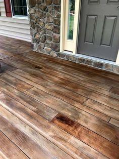 Rustic Concrete Wood Porch in Boyce, Virginia. Concrete Houses, Concrete Wood, Rustic House, Porch Remodel, Concrete Patio Designs, Concrete Porch, Concrete Wood Floor, Porch Flooring, Porch Makeover