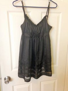 Betsy Johnson Intimates Black Satin Sheer Striped Babydoll Chemise Nighty Small #BetseyJohnson