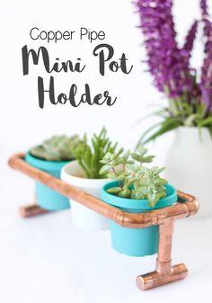 Copper+Pipe+Pot+Plant+Holder+