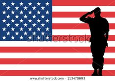The United States of America flag and the silhouette of a soldier saluting - stock vector