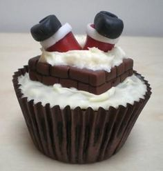 Santa stuck in a cupcake