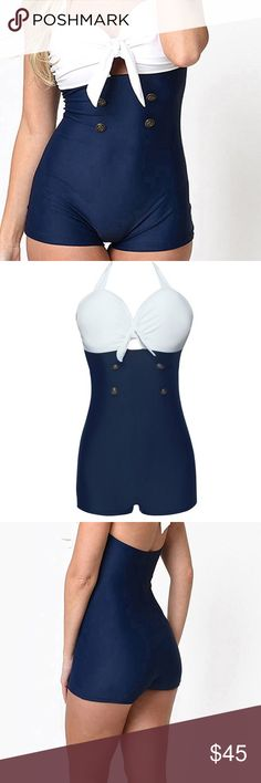 Sailor Inspired Swimsuit Love the nautical lookin swimsuits and this is one of my favorite versions. You will be saying Aye, Aye Skipper in this adorable white and blue sailor inspired suit. Swim One Pieces