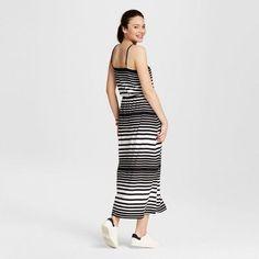 Women's Striped Knit Maxi Dress - Merona Black/Fresh White Xxl, Black/White