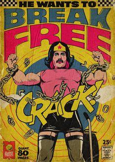 Freddie Mercury, Königin, Vintage Comics, Wonder Woman, – My Favorite Pins Comics Vintage, Vintage Comic Books, Comic Books Art, Comic Book Display, Rock Posters, Band Posters, Freddie Mercury, Comic Book Covers, Comic Book Heroes