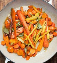 Chardonnay Glazed Carrots     For a fresh twist on this classic Thanksgiving side dish, glaze carrots with verjus, the pressed juice from unripe grapes; it has a sweet-tart flavor and is similar to, but less sharp than, vinegar