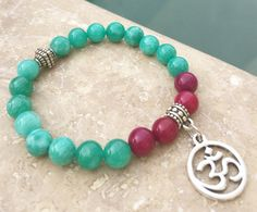Green and Fuchsia Jade Om bracelet, yoga jewelry, yogi gift, buddha beads by BeachBlanketBoho on Etsy