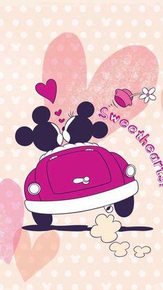 Papéis de parede românticos do Mickey e Minnie para celular