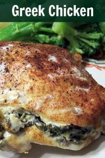 This low carb Greek Chicken Recipe is stuffed with spinach and feta cheese and let me tell you it was GOOD! LCHF Keto Atkins THM Banting Recipe