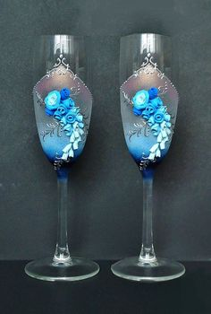 Blue Wedding Champagne Glasses Toasting Flutes by JoliefleurDeco