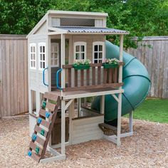 - There are so many backyard playground sets for sale that it can be hard to know which one to buy. As purchasing a playground set is by no means cheap,. Playhouse With Slide, Backyard Playhouse, Backyard Playground, Backyard For Kids, Backyard Projects, Outdoor Projects, Playhouse Ideas, Playhouse For Kids, Childs Playhouse
