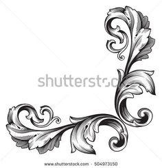 Baroque Design, Filigree Design, Tattoo Lettering Fonts, Hand Lettering, Arabesque, Gypsum Ceiling Design, Filigree Tattoo, Carving Designs, Tattoo Stencils