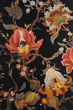 House of Hackney Artemis Wallpaper Coral Wallpaper, Dark Wallpaper, Flower Wallpaper, Pattern Wallpaper, Wallpaper Backgrounds, Oriental Wallpaper, Motifs Textiles, Textile Fabrics, Victorian Wallpaper