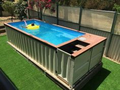A shipping container pool.. a great alternative to the standard pool