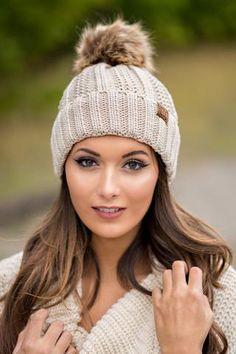 CC Knit Blanket Lined Fur Pom Pom Beanie (Beige) - NanaMacs.com - 1