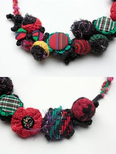 Colorful statement fiber necklace crochet felt by rRradionica, $87.00