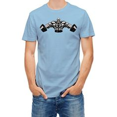 Tshirt gym bodybuilder with dumbbell Blue Sky L - Brought to you by Avarsha.com