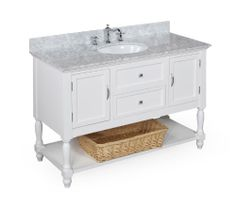 Beverly Double Bathroom Vanity (Carrara/White): Includes White Cabinet with Soft Close Drawers, Authentic Italian Carrara Marble Countertop, and Two Ceramic Sinks Kitchen Bath Collection 42 Inch Bathroom Vanity, Double Sink Bathroom, Bathroom Vanities, Bathroom Ideas, Master Bathroom, White Bathroom, Marble Bathrooms, Bathroom Inspiration, Bathroom Designs