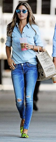 No matter the season, denim never goes out of style! We love this chambray and distressed duo.