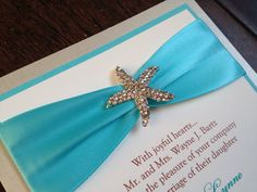 Beach Wedding Invitation Starfish Rhinestone by decadentdesigns, $4.75