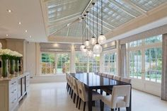 Split into three distinct spaces, this orangery provides both living and dining rooms linked to a contemporary kitchen and a third room for entertaining. Orangery Extension Kitchen, Kitchen Orangery, Conservatory Dining Room, Kitchen Diner Extension, Orangery Conservatory, Open Plan Kitchen Dining Living, Open Plan Kitchen Diner, Georgian Interiors, Georgian Homes