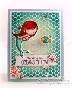 It's warm and sticky enough to wish I were a mermaid today #zigcleancolorrealbrush #mftstamps #mermaid #underthesea #papercraft #papercrafting #handmade #handmadecards #distressinks #ariel #beamermaid