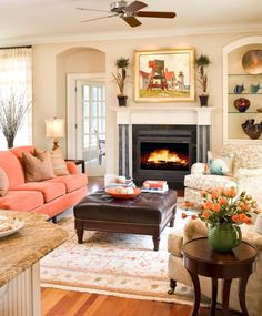 pretty living room with classic features