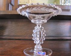 Imperial Glass Candlewick Etched Compote RARE