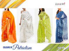 Celebrate the 67th Republic Day with Zoyashi! We bring to you a complete wardrobe range from apparel, kurtas, sarees, palazoos, pants, jackets, dupattas, juttis etc. #RepublicDay #With #Zoyashi #FeelingPatriotic #HandmadeWithLove #MadeInIndia #Saree #Serenade #IndianSaree #Tricolor