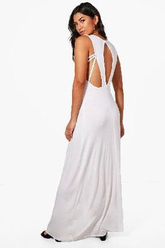 #boohoo Keyhole Detail Maxi Dress - white DZZ48669 #Maddison Keyhole Detail Maxi Dress - white
