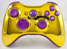 I really want this gold and purple xbox 360 controller. Fun Video Games, V Games, Geek Games, Xbox Games, Custom Consoles, Super Mario 3d, Xbox 360 Controller, Xbox Console, Call Of Duty Black