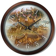 Features a collage of White Tail deer in their Native habitat. Rustic Lodge Decor, Classic Clocks, White Tail, Deer, Collage, Hunting, Home Decor, Art, Art Background