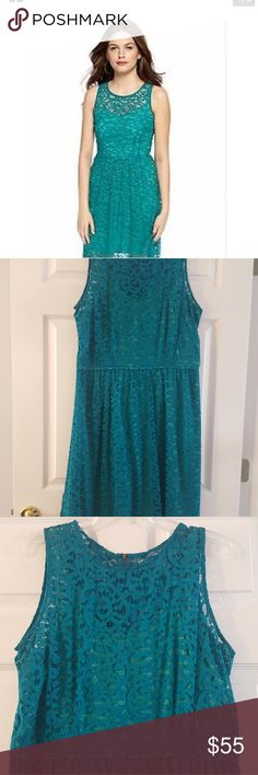 Donna Ricco Lace Dress Gently worn, beautiful lace dress. Teal lace with lime green underlay. Exposed zipper. In great shape! Donna Ricco Dresses Wedding