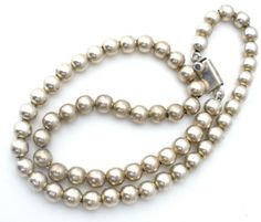 Sterling-Silver-8mm-Bead-Necklace-Taxco-20-Long-Heavy-55-6-Grams-Vintage
