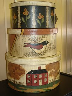 contemporary folk art boxes http://thewoodenacorn.blogspot.com/2011/10/wooly-good-news-bashfulsheepish.html