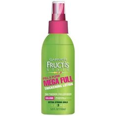 """<a href=""""http://amzn.to/1XkUCXn"""" target=""""_blank"""">Garnier Fructis Mega Full Thickening Lotion</a>, a drugstore option that boosts volume all day long."""