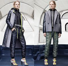 T by Alexander Wang 2014-2015 Fall Autumn Winter Womens Lookbook Presentation - New York Fashion Week - Jogging Sweatpants Puffer Down Jacket Waffle Quilted Outerwear Coat Pea Coat Chunky Knit Drawstring Crop Top Midriff Tuxedo Stripe Leggings Hoodie Skirt Over Leggings Sweaterdress