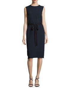 Joseph Easton Sleeveless Tie-Waist Dress, Navy