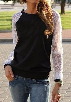 Black Patchwork Lace Pullover Sweatshirt